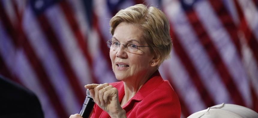 Democratic presidential candidate Sen. Elizabeth Warren, D-Mass., speaks at a gun safety forum on Wednesday.