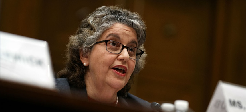 U.S. Federal Election Commission Commissioner Ellen Weintraub testifies on Capitol Hill in May.