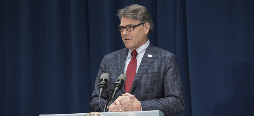 Rick Perry speaks at the Energy Department in 2018.