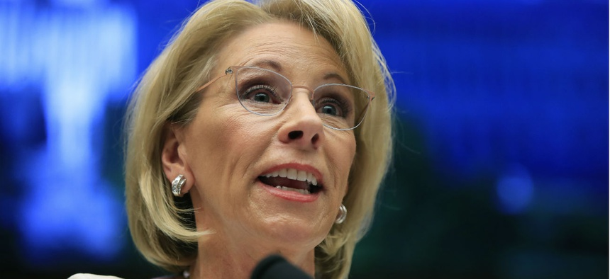 Education Secretary Betsy DeVos testifies on Capitol Hill in April.