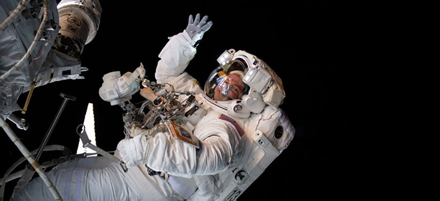 The astronaut Drew Morgan waves during a spacewalk this summer.