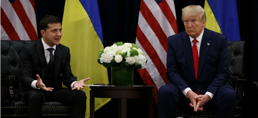 President Trump meets with Ukrainian President Volodymyr Zelenskiy during the United Nations General Assembly on Sept. 25 in New York.