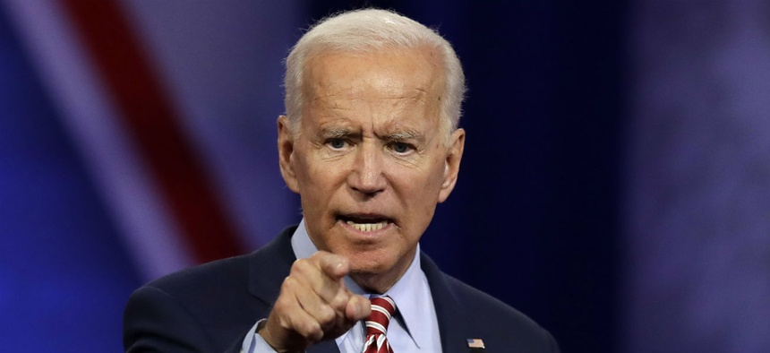 Democratic presidential candidate Joe Biden speaks in Los Angeles on Oct. 10.