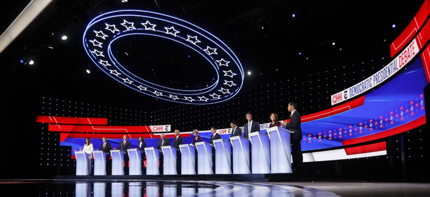 The top 2020 Democratic presidential candidates debate one another in Westerville, Ohio, on Tuesday night.