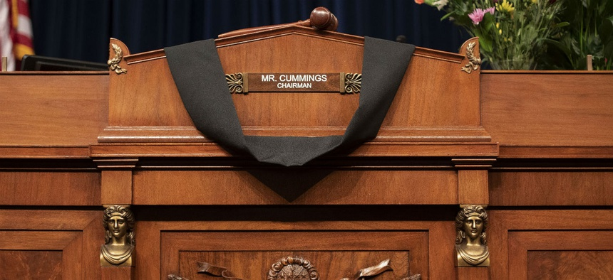 The House Oversight and Reform Committee chairman's seat is draped in black cloth honoring Rep. Elijah Cummings, D-Md.