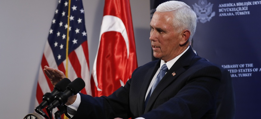 Vice President Mike Pence speaks at the U.S. ambassador's residence during a news conference after meeting with Turkish President Recep Tayyip Erdogan, Thursday, Oct. 17, 2019, in Ankara, Turkey. Pence says the U.S. and Turkey have agreed to a cease-fire.