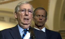 Senate Majority Leader Mitch McConnell, R-Ky., speaks with the media after the Senate Policy Luncheon on Wednesday.