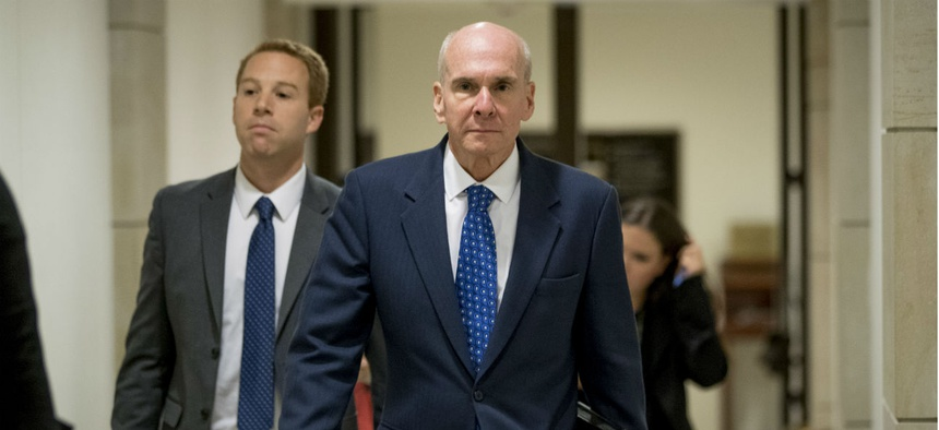 Michael McKinley, a former top aide to Secretary of State Mike Pompeo, leaves Capitol Hill on Oct. 16 after testifying before lawmakers as part of the House impeachment inquiry.