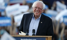 Democratic presidential candidate Bernie Sanders speaks at a campaign rally in Denver in September.