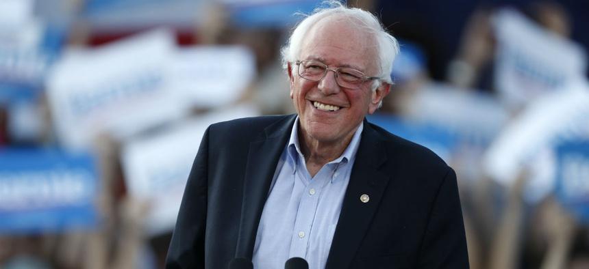 Democratic presidential candidate Bernie Sanders speaks at a campaign rally in Denver in September.