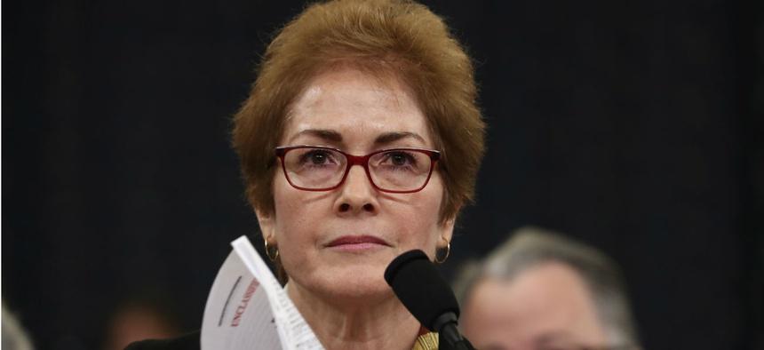 Former U.S. Ambassador to Ukraine Marie Yovanovitch testifies before the House Intelligence Committee on Friday.