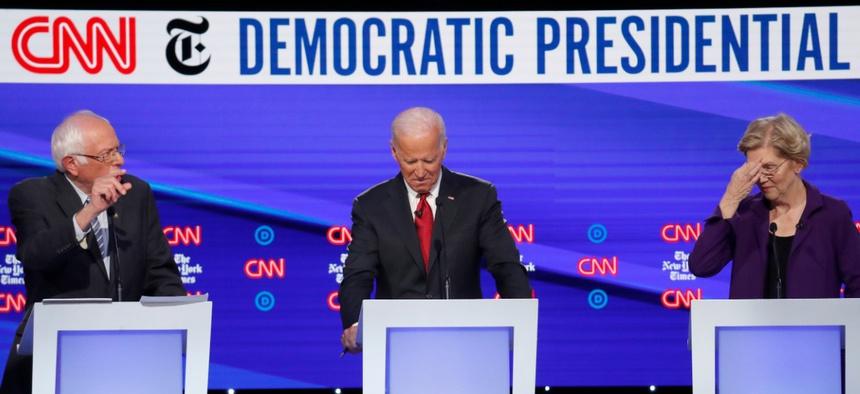 Bernie Sanders, Joe Biden and Elizabeth Warren debate in October in Ohio.