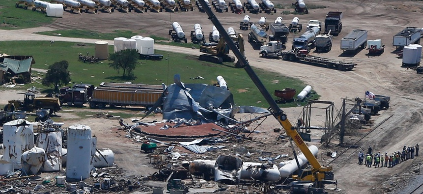 This April 2013 photo shows damage from the West, Texas, fertilizer plant explosion.