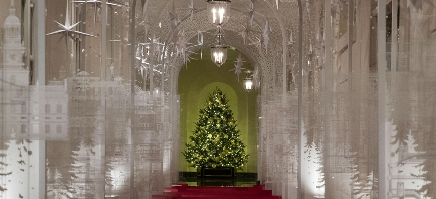 The East Colonnade of the White House is decorated for Christmas.