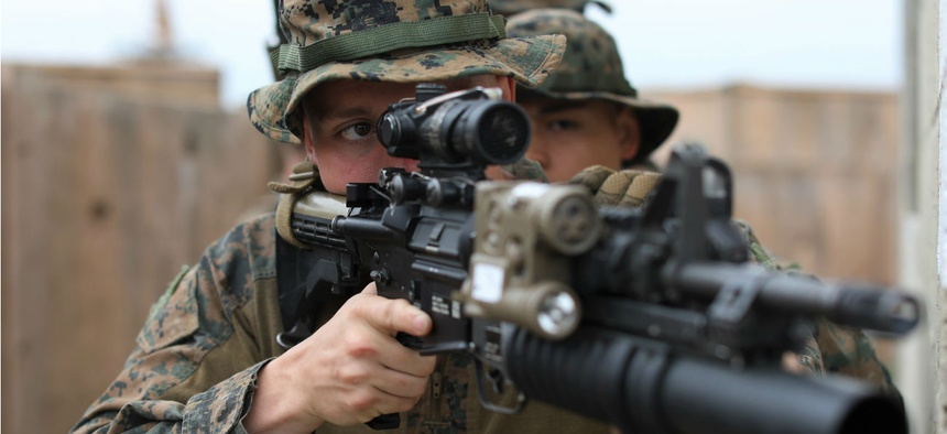 Marine Lance Cpl. Ethan Anderson, a rifle Marine with the 22nd Marine Expeditionary Unit, trains at Naval Station Rota, Spain, on May 6, 2019.
