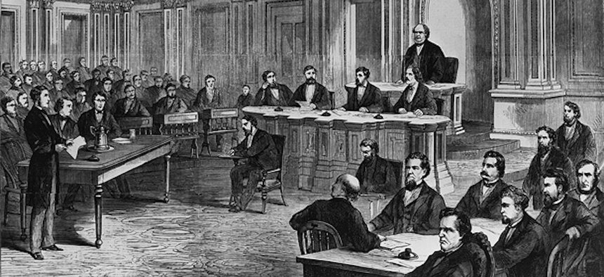 A scene from the impeachment of Andrew Johnson as shown in Frank Leslie's Illustrated Newspaper March 28, 1868