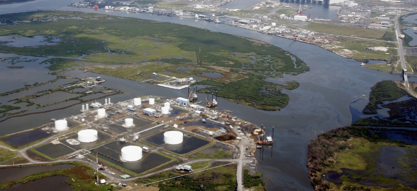 The area around an oil refinery in southern Louisiana is flooded after Hurricane Katrina in September, 2005.