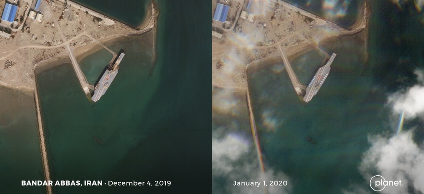 The view from Planet Labs SkySat satellites showing Iran's fake aircraft and a recent push to complete repairs, in possible anticipation of a March exercise. Photos taken December 4, 2019 and Jan 1, 2020.