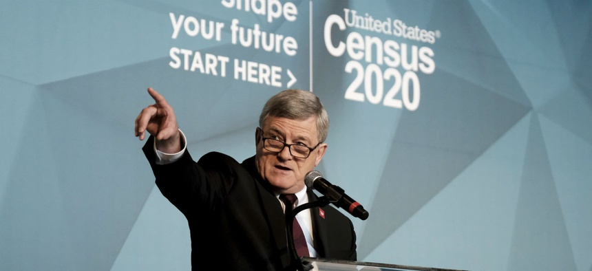 Census Director Steven Dillingham unveils the bureau's national advertising and outreach campaign for the 2020 Census on Tuesday.