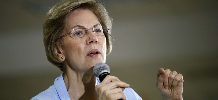 Democratic presidential candidate Sen. Elizabeth Warren, D-Mass., speaks during a campaign event in Iowa on Monday.