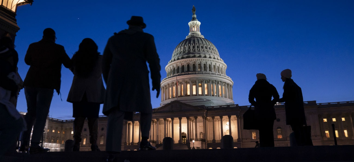 Night falls on the Capitol during the impeachment trial of President Trump.