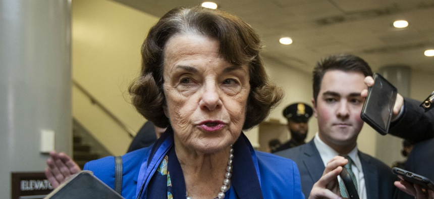 Sen. Dianne Feinstein, D-Calif., speaks to reporters in the Capitol on Tuesday.