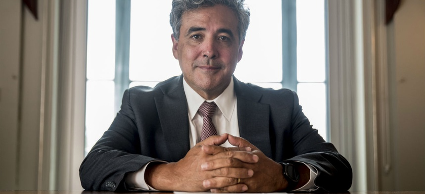 Solicitor General Noel Francisco poses for a photo at the Justice Department in May.