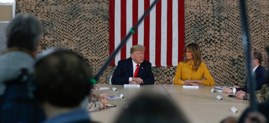President Trump spoke to U.S. troops at al Asad Air Base in Iraq in 2018.