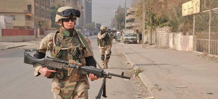 Soldiers patrol Baghdad in 2005.