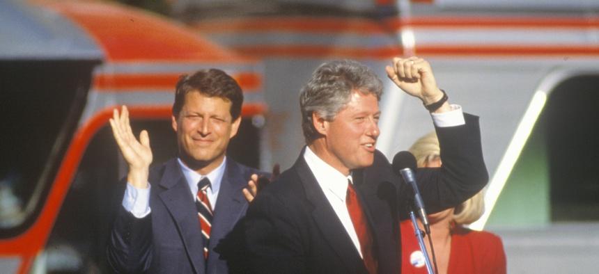 Then Governor Bill Clinton, right, and then Senator Al Gore, left, on the 1992 Buscapade campaign kick off tour in Cleveland, Ohio.