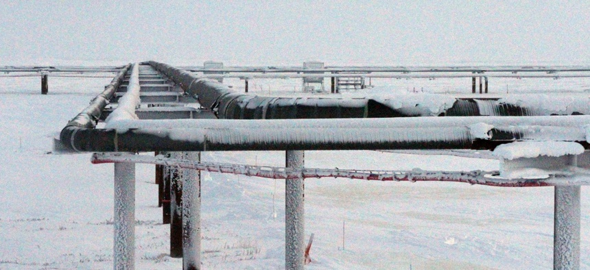 Ice forms on pipelines built near the Colville-Delta 5 drilling site on Alaska's North Slope. The Interior whistleblower was found to have experienced retaliation after he reported inadequate environmental reviews of Alaskan drilling sites.
