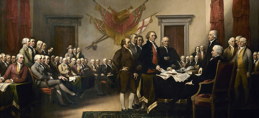 "John Trumbull's ""Declaration of Independence"" sits in the United States Capitol"
