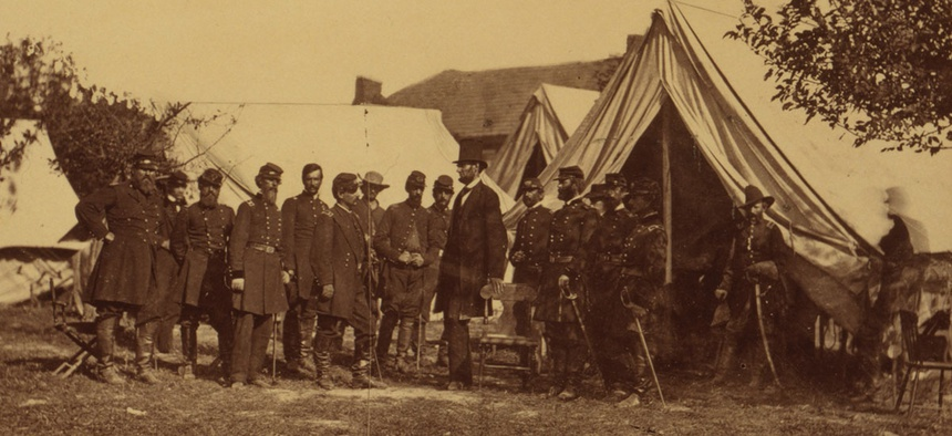 President Abraham Lincoln at Antietam, Maryland, on Friday, October 3, 1862, during his visit to General McClellan, commander of the Army of the Potomac.