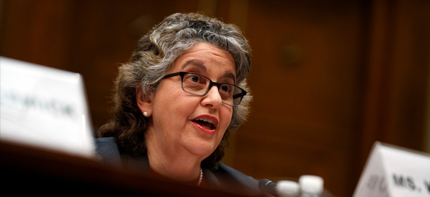 FEC Commissioner Ellen Weintraub testifies on Capitol Hill in May.