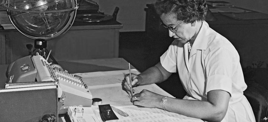 Katherine Johnson at work in 1962.