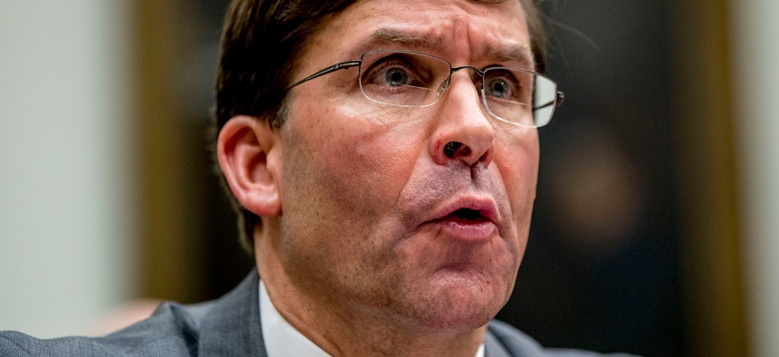 Defense Secretary Mark Esper speaks during a House Armed Services Committee hearing Wednesday.