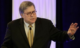 Attorney General William Barr speaks at the International Association of Chiefs of Police Officer Safety and Wellness Symposium on Thursday.