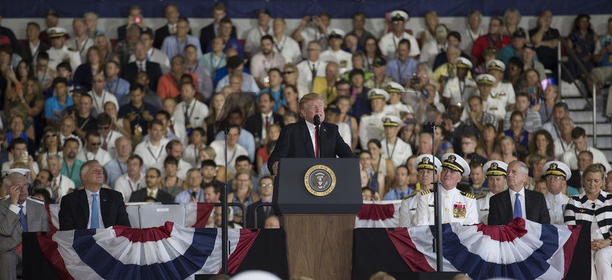 President Donald J. Trump delivers remarks during USS Gerald R. Ford's (CVN 78) commissioning ceremony at Naval Station Norfolk in 2017.