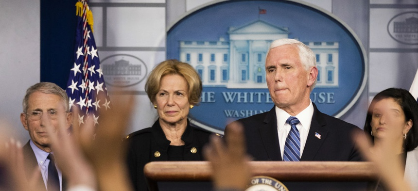 Vice President Mike Pence, with White House coronavirus response coordinator Dr. Deborah Birx and other members of the president's task force on coronavirus take questions at the White House March 2.