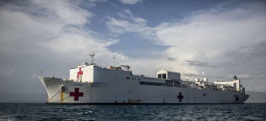 The Pentagon is sending Navy hospital ships, including the USNS Comfort shown above, to New York and the West Coast.