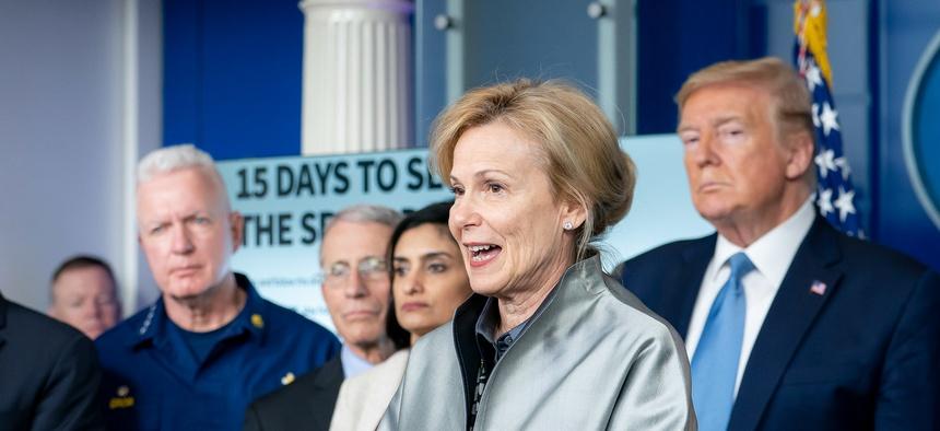 s Ambassador Deborah Birx, White House Coronavirus Response Coordinator, delivers remarks at a coronavirus update briefing Monday,