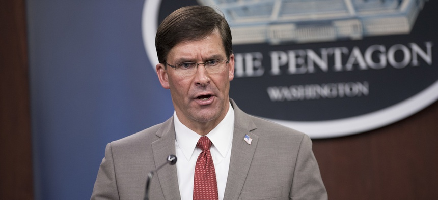 Defense Secretary Dr. Mark T. Esper briefs the media about the department's COVID-19 response, the Pentagon, Washington, D.C., March 17, 2020.