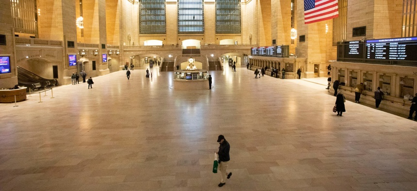 Grand Central Terminal is shown during the morning rush hour Monday in New York. Gov. Andrew Cuomo has ordered most New Yorkers to stay home from work to slow coronavirus transmission.