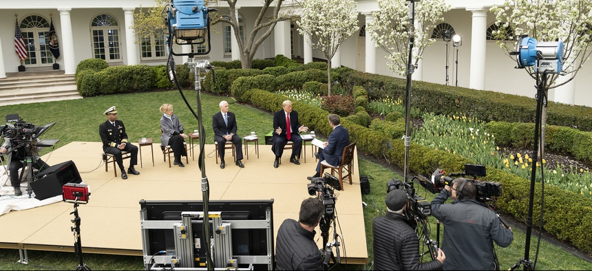 President Donald J. Trump and Vice President Mike Pence, joined by White House Coronavirus Task Force Response Coordinator Ambassador Deborah Birx and U.S. Surgeon General Jerome Adams, participate in a virtual Fox News Town Hall Tuesday.