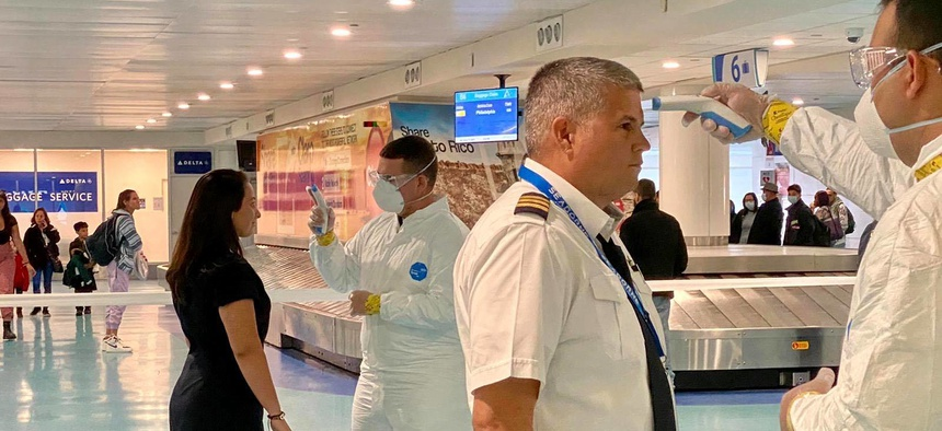 Citizen-Soldiers of the Puerto Rico National Guard along with the Department of Health and other state and federal agencies have begun evaluating and giving orientation to all passengers arriving at Luis Muñoz Marín International Airport on March 17.