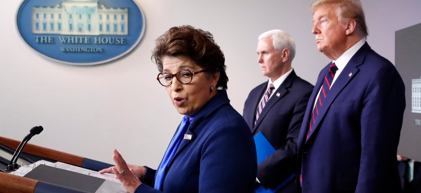 SBA Administrator Jovita Carranza speaks about the coronavirus in the James Brady Press Briefing Room of the White House in Washington on Thursday.