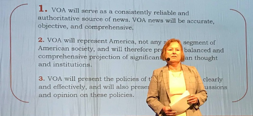"""VOA Director Amanda Bennett said: """"We are intended to be and try our very hardest to be a non-political organization."""""""