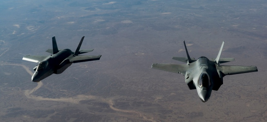 Two U.S. Air Force F-35 Lightning II aircraft, assigned to the 34th Expeditionary Fighter Squadron, fly in formation over the U.S. Central Command area of responsibility, in January.