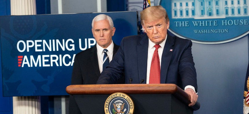 President Trump and Vice President Pence address reporters at a White House press conference April 16.