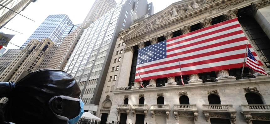 New York City's Wall Street was calm on April 25, 2020.